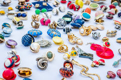 Vintage rings and earrings on the flea market Stock Photos