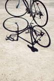 Vintage road bicycle and its shadow Stock Images