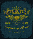 Vintage Road king t-shirt graphic with wings. Stock Photography