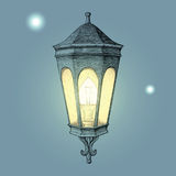 Vintage road lamp hand drawing engraving style. Clip art isolated on blue background Stock Photo