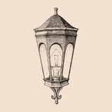 Vintage road lamp hand drawing engraving style stock illustration