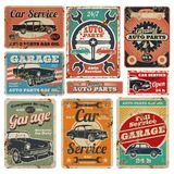 Vintage road vehicle repair service, garage and car mechanic advertising vector metal signs. Garage repair service old banner illustration Royalty Free Stock Photos
