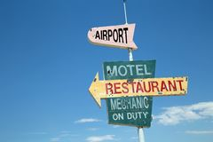 Vintage Roadside Sign royalty free stock photos