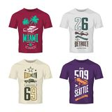 Vintage roadster, classic and sport car isolated vector logo t-shirt mock up set. Premium quality old vehicle logotype tee-shirt emblem illustration. Street Royalty Free Stock Image