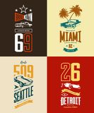 Vintage roadster, classic and sport car isolated vector t-shirt logo set. Premium quality old vehicle logotype tee-shirt emblem illustration. Street wear Royalty Free Stock Photo
