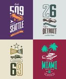 Vintage roadster, classic and sport car isolated vector t-shirt logo set. Stock Image