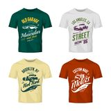 Vintage roadster, custom hot rod and muscle car vector logo t-shirt mock up set. 
