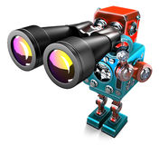 Vintage Robot with binoculars. . Contains clipping path. Vintage Robot with binoculars. over white. Contains clipping path stock illustration