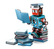 Vintage Robot reading books. Education concept. . Contains clipping path. Vintage Robot reading books. Education concept. over white. Contains clipping path stock illustration