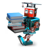 Vintage Robot with stack of books. . Contains clipping path Stock Photo
