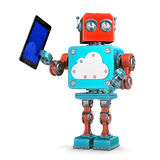 Vintage robot with tablet and cloud symbol. Technology concept. Isolated. Contains clipping path Royalty Free Stock Photos