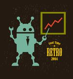 Vintage robot. Vector illustration of mechanic monster stock illustration