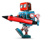 Vintage Robot writing with red pen. . Contains clipping path Royalty Free Stock Photo