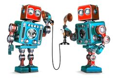 Vintage Robots having a phone conversation. 3D illustration. Iso Royalty Free Stock Photo