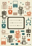 Vintage robots set with banner Stock Images