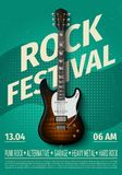 Vintage rock festival flyer with electric guitar. Retro music concert affiche, poster with typography. Vector template. Banner with rock guitar illustration Stock Photo