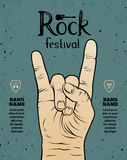 Vintage Rock festival flyer, poster with Rock and Roll hand sign. Vector illustration Stock Photos
