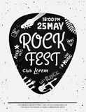 Vintage rock festival poster with Rock and Roll icons on grunge background. Vector format Stock Photos