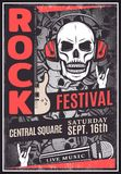 Vintage Rock Music Festival Advertising Poster. With text guitar microphone goat hand gesture skull wearing headphones vector illustration Royalty Free Stock Photos