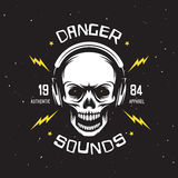 Vintage rock music related t-shirt graphics. Danger sounds. Authentic apparel. Stock Images