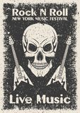 Vintage rock n roll poster. Skull and guitar typographic for print, t-shirt, tee design. Royalty Free Stock Photography