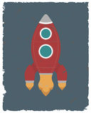 Vintage rocket card. Retro poster template. Vector illustration. Vector illustration with rocket. Vintage rocket card Stock Photo