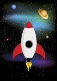 Vintage Rocket no espaço Fotos de Stock Royalty Free