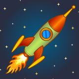 Vintage rocket in space. Vintage rocket on a night space background stock illustration