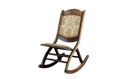 Vintage Rocking Chair with Ornate Upholstered Seat and Backrest Stock Photo