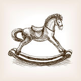 Vintage rocking horse sketch vector illustration Stock Photography