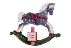 Vintage rocking horse toy christmas decoration Royalty Free Stock Photos