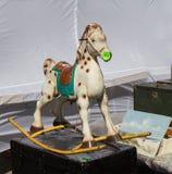 Vintage rocking horse toy at flea market Royalty Free Stock Photo