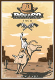 Vintage Rodeo Show Poster. With cowboy riding bull hat and crossed revolvers on desert landscape vector illustration Stock Photo