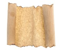 Vintage roll of parchment background isolated on white. Scrolled old paper isolated on white background royalty free stock images