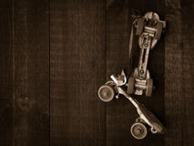 Vintage Roller Skates with copy space Stock Photos