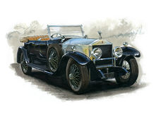 Vintage Rolls Royce. Illustration of vintage Rolls Royce royalty free illustration
