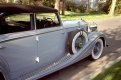 Vintage Rolls Royce. Photo of vintage Rolls Royce automobile parked on a street stock images