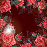 Vintage romántico Rose Frame Imagen de archivo libre de regalías