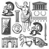 Vintage Roman Empire Elements Set. With gladiator sword shield chariot emperor Caesar Triumphal Arch Pantheon coin column Coliseum isolated vector illustration Royalty Free Stock Image