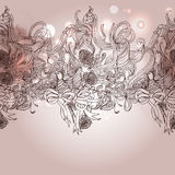Vintage romance background with bird and floral elements Royalty Free Stock Image