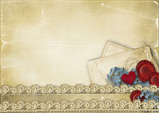 Vintage romantic background with roses and hearts Royalty Free Stock Photos