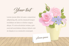 Vintage romantic card flowers in the cup with the text. Stock Photography
