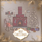 Vintage romantic Christmas card with color living room and fireplace. Vintage romantic Christmas card with color cozy living room with holiday decorations and Stock Image