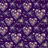 Vintage Romantic Floral Pattern on Purple Background Stock Images