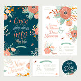Vintage romantic floral Save the Date invitation. In bright colors in vector. Wedding calligraphy card template with greeting labels, ribbons, hearts, flowers Stock Photo