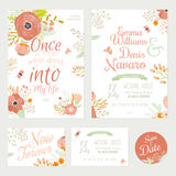 Vintage romantic floral Save the Date invitation. In bright colors in vector. Wedding calligraphy card template with greeting labels, ribbons, hearts, flowers Royalty Free Stock Photos