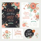 Vintage romantic floral Save the Date invitation Stock Photo