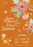 Vintage romantic floral Save the Date invitation Stock Photography