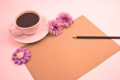 Vintage romantic flower and coffee for background and greeting card royalty free stock image
