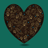 Vintage Romantic Heart with Golden Flowers Royalty Free Stock Photos